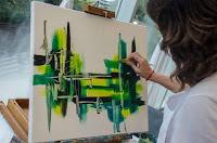 Gabriela Piatti, pintura en vivo, Pinamar