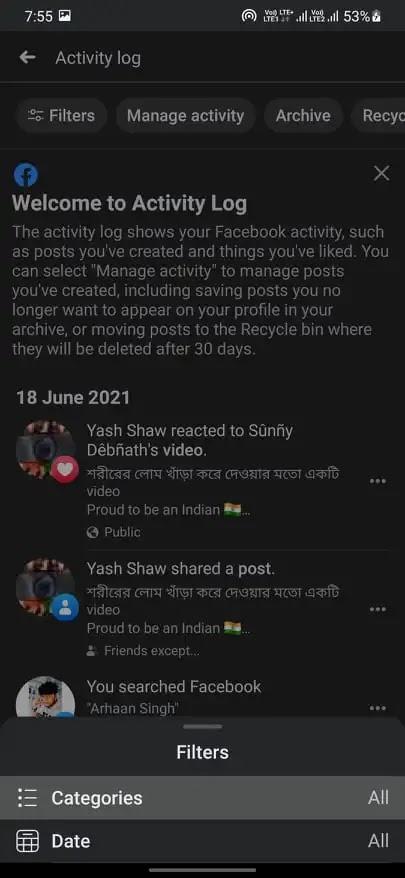 Unhide Posts on Facebook
