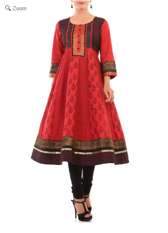 Red Kalidar Cotton Kurtha, Rangriti, Online Shopping for women, ethinic wear for women, Indian Wear