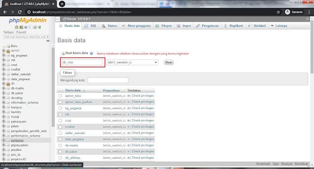 phpmyadmin buat database