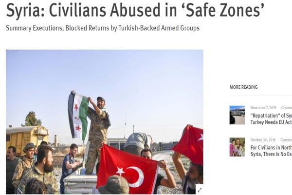 هيومن رايتس ووتش في تقرير: المجموعات المسلحة ترتكب الجرائم بحق المدنيين في شمال شرق سوريا