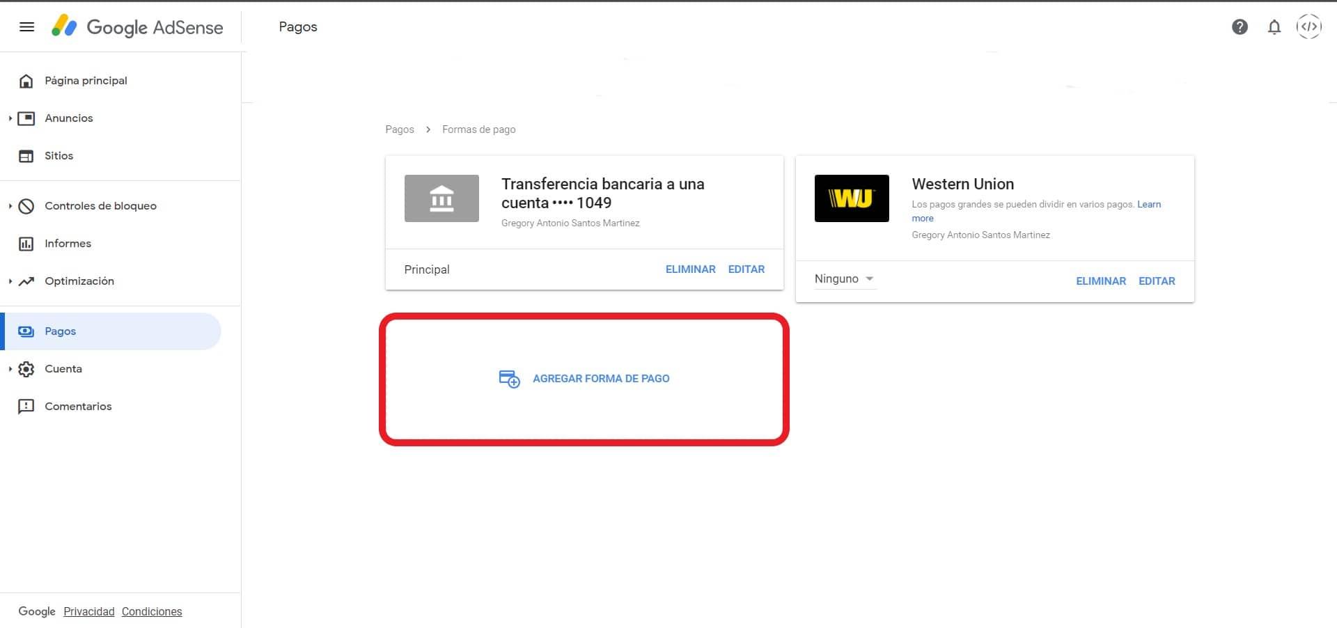 agregar forma de pago google adsense