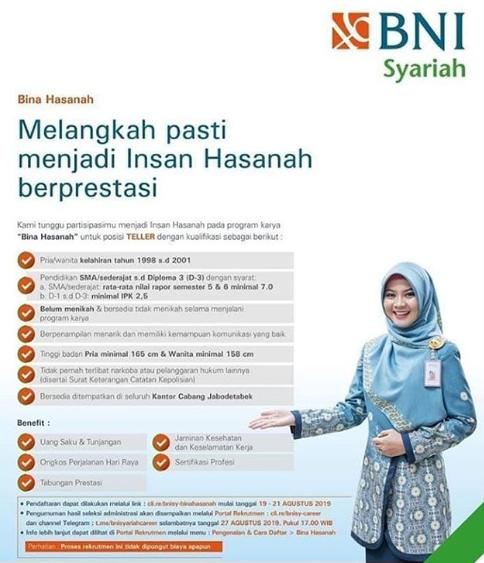 Lowongan Kerja di BNI Syariah Agustus 2019