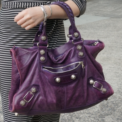 zig zag wrap dress, Balenciaga raisin purple 2009 giant silver G21 hardware work bag  | awayfromtheblue
