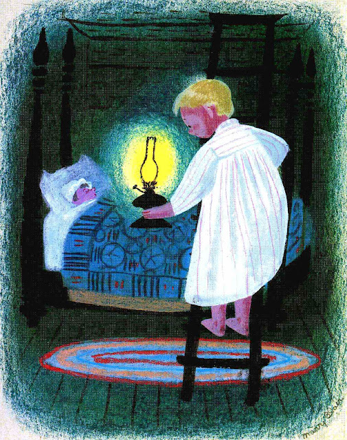 a children's illustration by Mary Blair, children going to bed at night