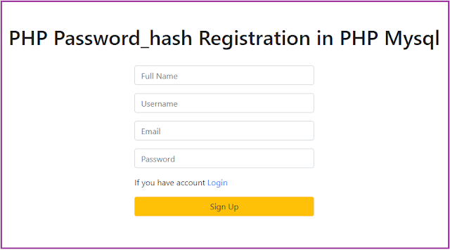 PHP Password_hash Registration in PHP Mysql