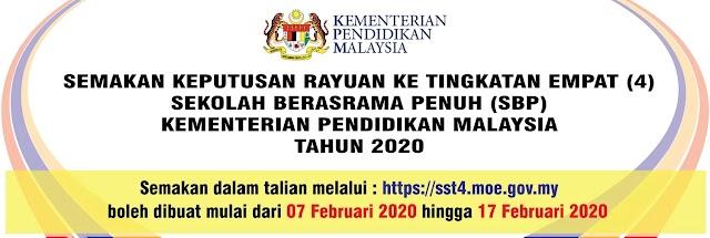 Semakan Keputusan Rayuan Ke Tingkatan 4 SBP KPM 2020