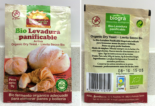 Bio levadura panificalble activa biográ de agricultura ecológica.