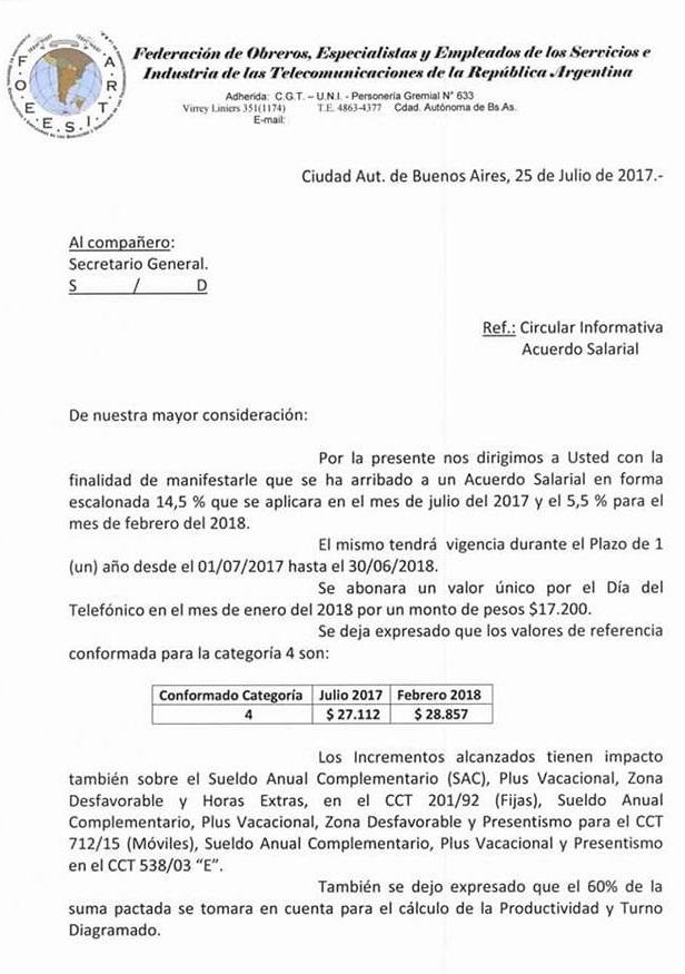 Telefónicos: ACUERDO SALARIAL 2017 - Circular de Foeesitra