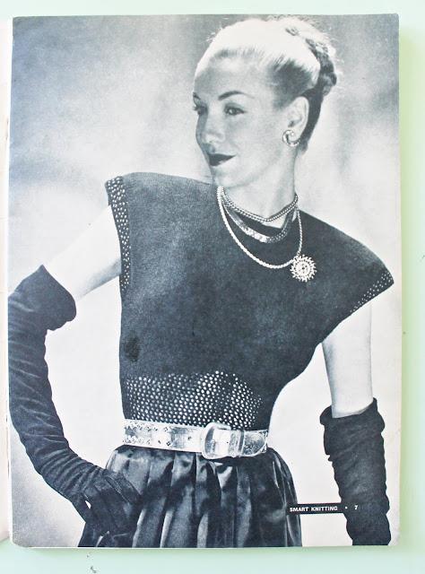 free 1940s midriff mesh blouse knitting pattern