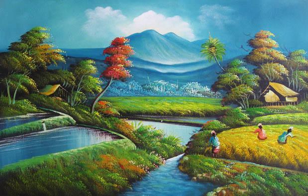 Gambar Lukisan Pemandangan Alam Yang Sederhana  Koleksi