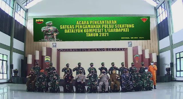 Kasdam I/BB Pimpin Upacara Pengantaran Satgas Pengamanan Pulau Sekatung Batalyon Komposit 1/Gardapati TA 2021 Secara Virtual