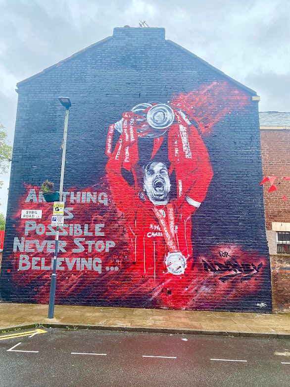 Jordan Henderson Street Art Mural Graffiti Liverpool Premier league Champions Trophy