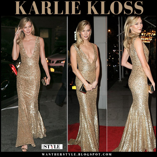 Karlie Kloss in gold sequin gown michael kors what she wore