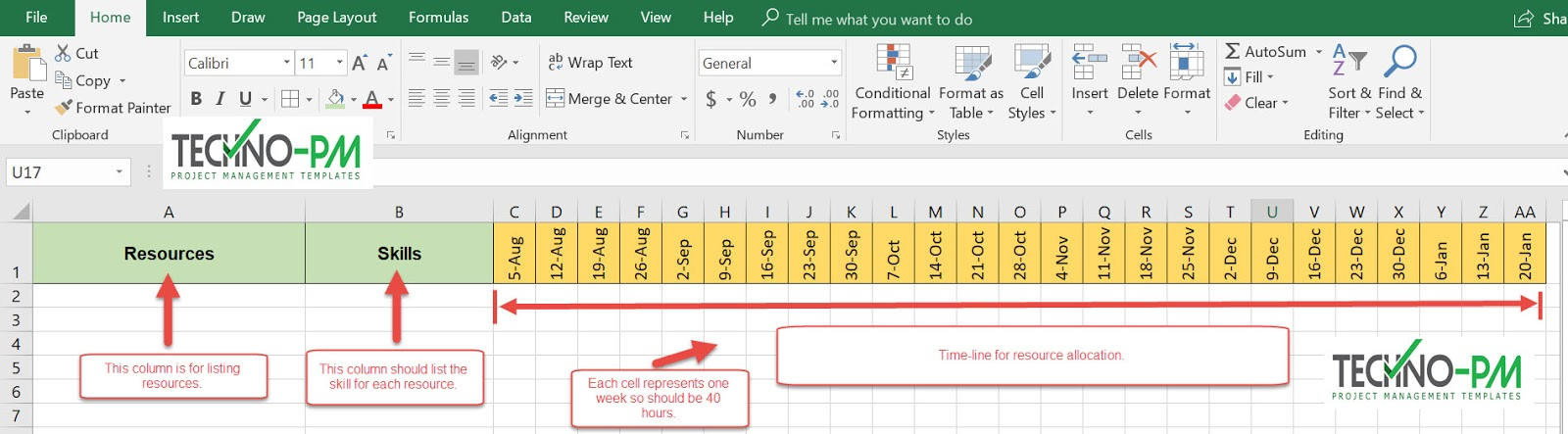 Excel based Resource Plan Template - Free Project Management Templates