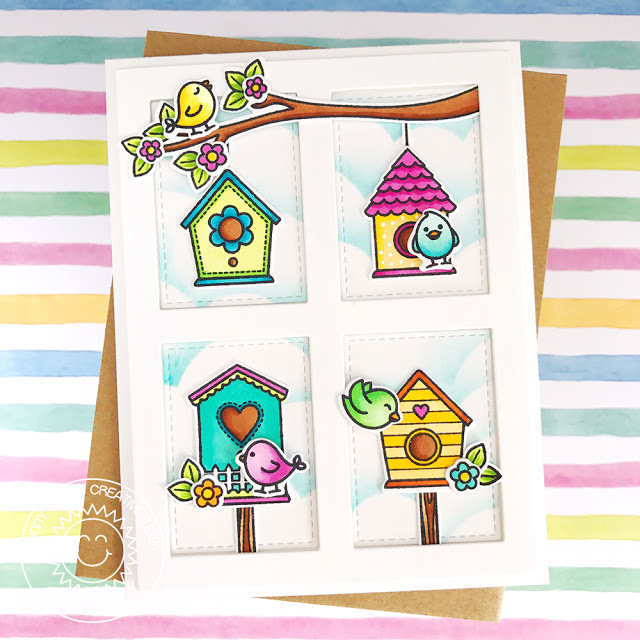 Sunny Studio Stamps: A Bird's Life Grid Design Birdhouse Card by Amy Yang