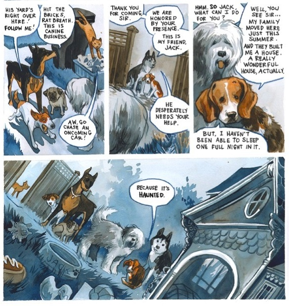 panels of Jack showing the gang his doghouse, which he says is haunted