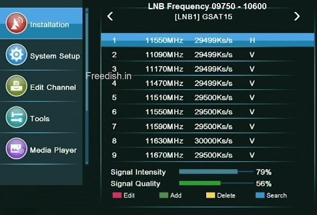 DD Free dish Frequency for 9750, Auto Scan Frequency, Blind Scan Frequency, DD Free dish Settings,