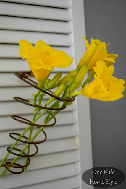 Vintage Springs and Yellow Lilies - One Mile Home Style