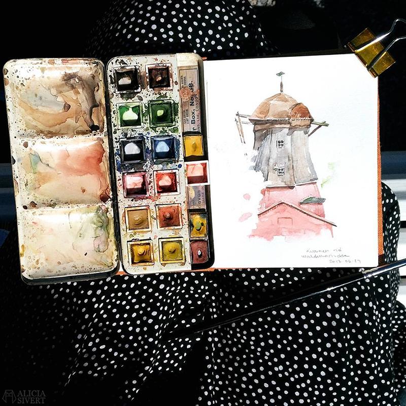 aliciasivert alicia sivert sivertsson måla målning akvarell aquarelle watercolor watercolour vattenfärg painting kvarn oljekvarn kvarnen oljekvarnen waldemarsudde prins eugens friluftsmåleri