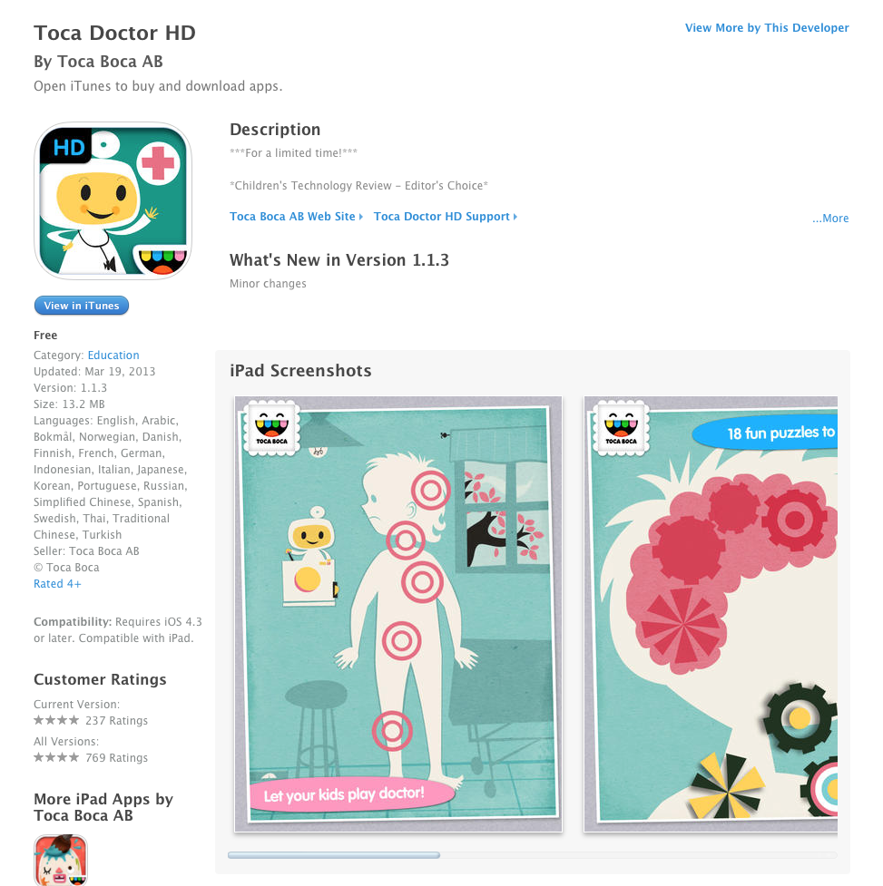 UCET Free iOS App Today: Toca Doctor HD - UCET