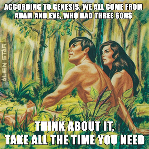 """According to Genesis, we all come from Adam and Eve, who had three sons. Think about it. Take all the time you need."""
