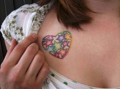 renkli kalp dövmeleri colorful heart tattoos