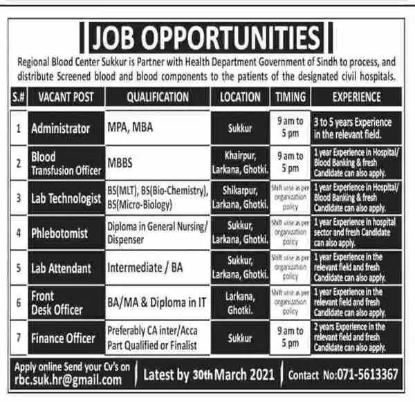 Medical Staff Jobs at Regional Blood Center Sindh 2021