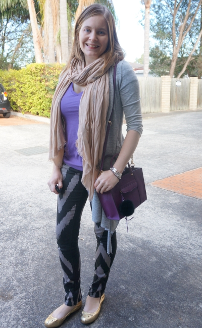 long winter layers: cardi and scarf purple tee and sass and bide printed playman skinny jeans | AwayFromBlue