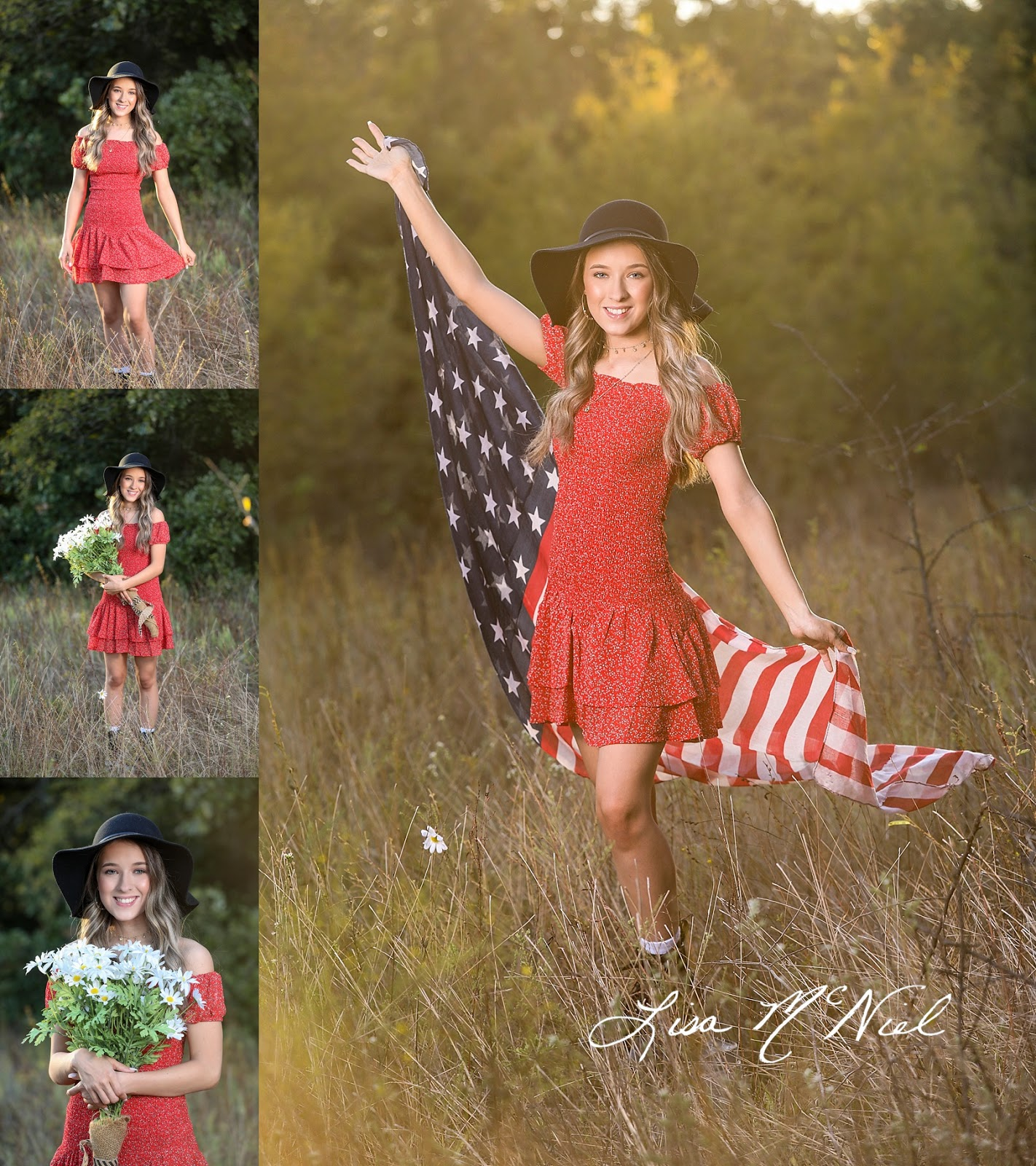 cute teen girl in red dress in field with flag scarf