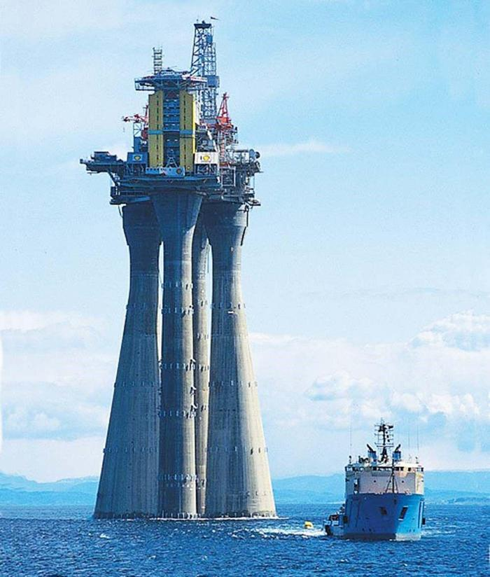 The 472m Troll A platform being towed in the North Sea. Half of the platform was submerged as it was towed. It is still to this day the heaviest object mankind has ever moved on the Earth.
