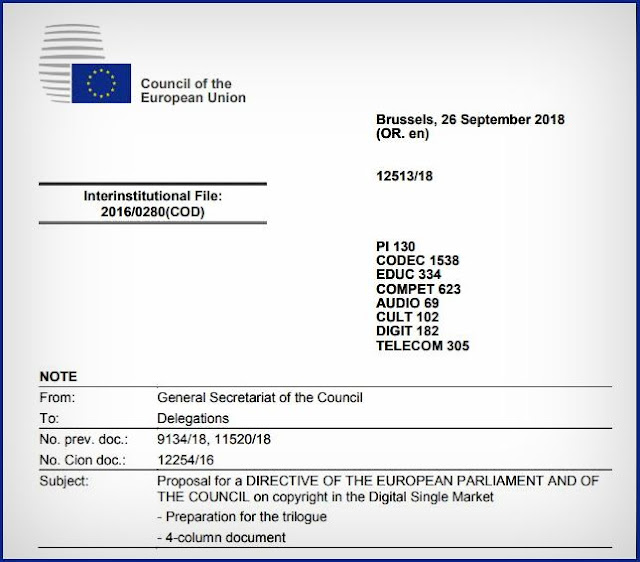 "To download the Proposal for a DIRECTIVE OF THE EUROPEAN PARLIAMENT AND OF THE COUNCIL on copyright in the Digital Single Market (Preparation for the trilogue/4-column document) - ""Click Here"""
