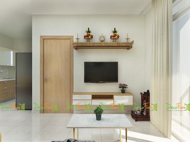 Nội thất phòng khách chung cư 70m2 - 2 phòng ngủ, chung cư Moonlight Residences