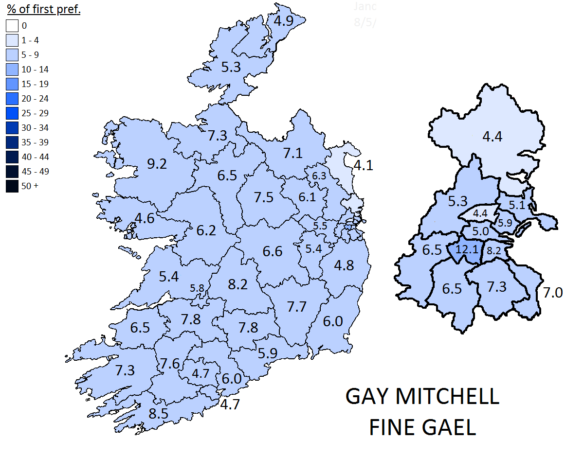 Gay Mitchell' first preference votes