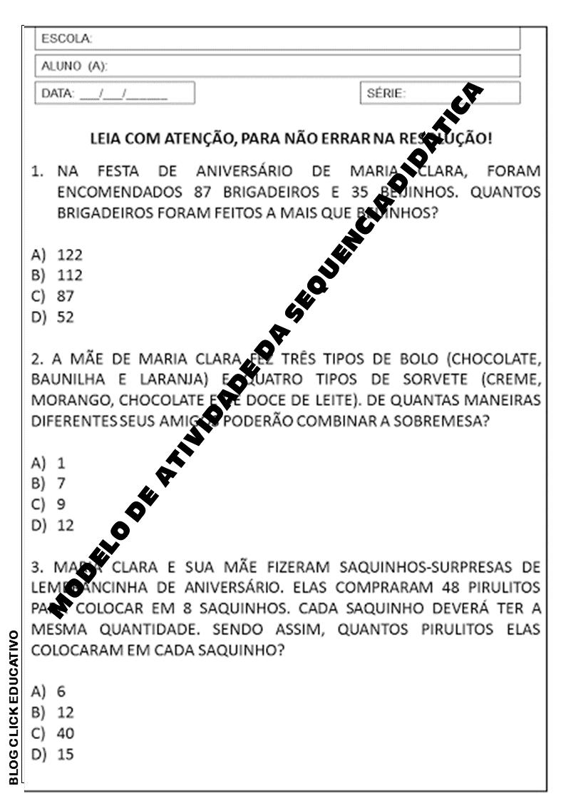 Plano De Aula 3º Ano Sequencia Didatica De Matematica Com Situacoes Problemas