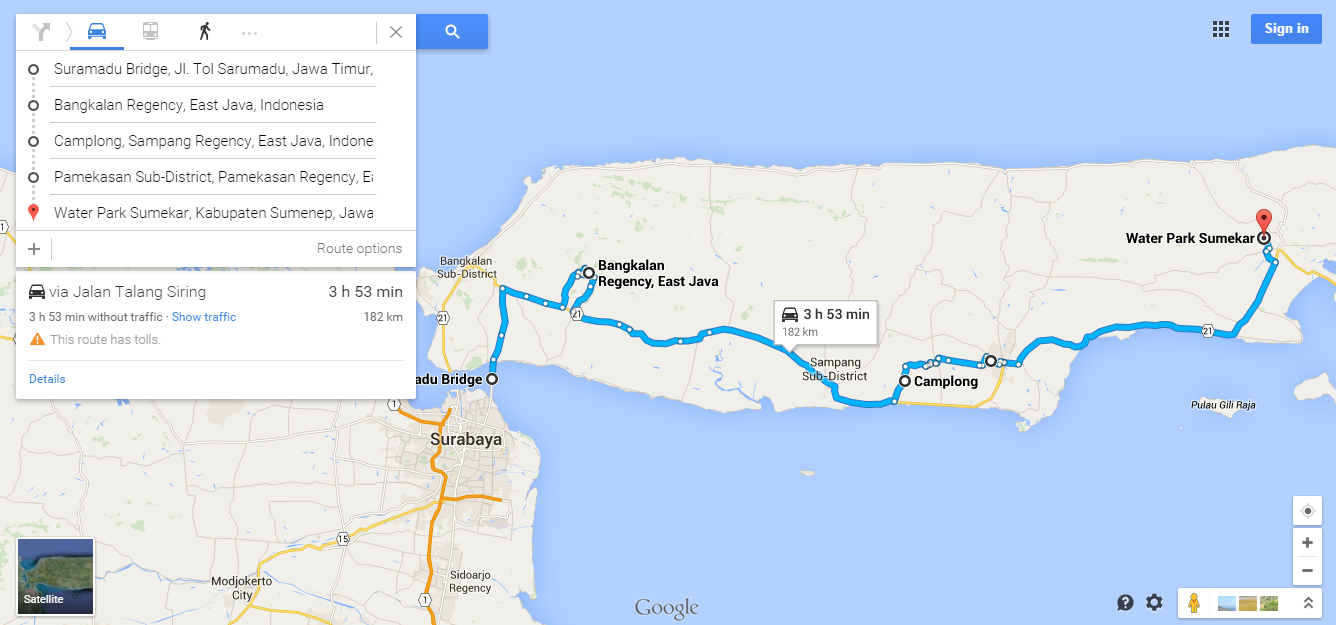 https://www.google.com/maps/dir/Suramadu+Bridge,+Surabaya,+East+Java,+Indonesia/Bangkalan+Regency,+East+Java,+Indonesia/Camplong,+East+Java,+Indonesia/Pamekasan+Sub-District,+Pamekasan+Regency,+East+Java,+Indonesia/Water+Park+Sumekar,+Sumenep+Regency,+East+Java,+Indonesia/@-7.1032075,113.0229268,10z/data=!3m1!4b1!4m32!4m31!1m5!1m1!1s0x2dd7f963d2d4fb4d:0x30462b46df526821!2m2!1d112.780243!2d-7.182374!1m5!1m1!1s0x2dd819888981e67b:0x3027a76e3cd8a70!2m2!1d112.9136695!2d-7.038375!1m5!1m1!1s0x2dd780ededdfd7ed:0x4027a76e3cdaa20!2m2!1d113.34663!2d-7.1846561!1m5!1m1!1s0x2dd77e09e1df0443:0x220d11dc60ada51e!2m2!1d113.4657037!2d-7.1582549!1m5!1m1!1s0x2dd9e66c9cff9b0d:0xfb3e8b424f50ff43!2m2!1d113.840816!2d-6.990121!3e0?hl=en