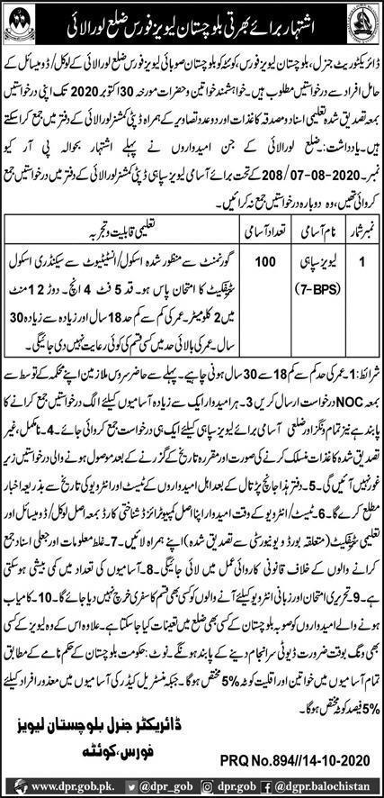 Levies Force Balochistan Job Advertisement For Levies Constables in Pakistan Jobs 2020 - 2021