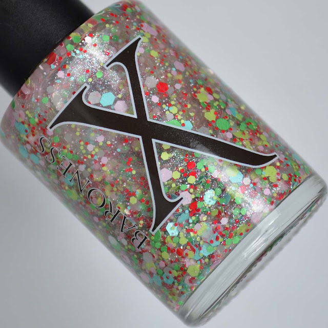 retro xmas glitter topper nail polish in bottle