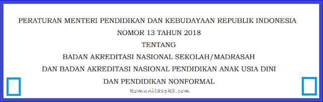 Permendikbud Nomor 13 Tahun 2018
