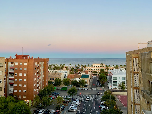 Rooftop view of the beach and ocean in Valencia, Spain