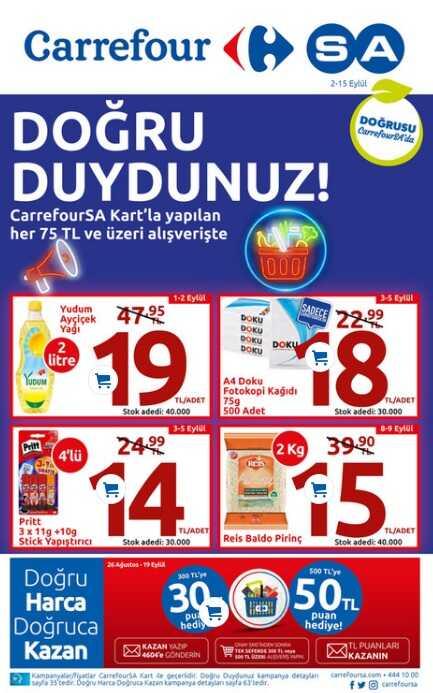 carrefoursa market katalog broşür afiş 2-15 eylül arası indirimleri