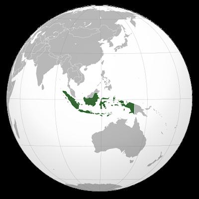 Изображение контуров Индонезии на глобусе Земли