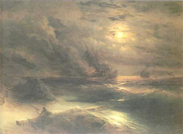 "Não só o cinema: Pintura ""The Storm at Cape Aya"", 1875.  Artista: Aivazovsky Ivan Konstantinovich"