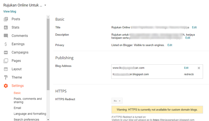 Cara Setup Nama Domain untuk Blogspot
