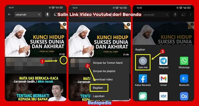 cara salin link video youtube