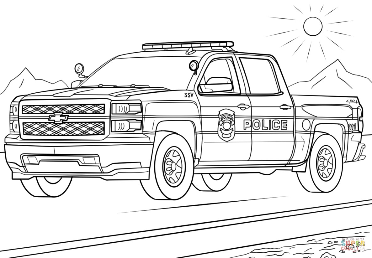 Police Car Game Coloring Book