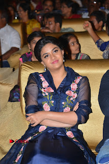 Actress Keerthi Suresh Stills in Blue Long Dress at Nenu Local Audio Launch  0034.JPG