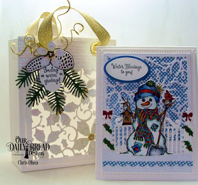 Our Daily Bread Designs Stamp/Die Duos: White as Snow, Paper Collection: Christmas 2014, Old Glory, Custom Dies: Card Caddy & Gift Bag, Gift Bag Handles &Topper, Peaceful Poinsettia, Poinsettia Insert, Pine Branches, Mini Tags, Pinecones, Snowflake Sky, Bitty Borders, Windowsill Candle, Gilded Gate, Ovals, Curvy Slopes, Pierced Ovals
