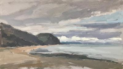 #262 'Wintery Skies, Charmouth Beach' 8×14″