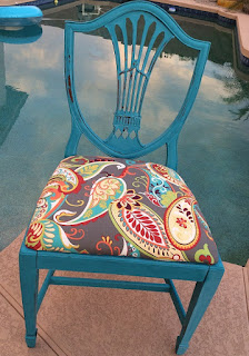 Look at this beautiful chair painted in DIY Paint Mermaid Tail! What a long, tall glass of water!